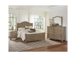 vaughan bassett american maple solid wood queen shiplap bed dunk shown in rustic grey finish over solid maple