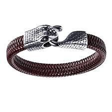braided steel bracelet images Ouroboros eternity snake leather and stainless steel bracelet forziani jpg