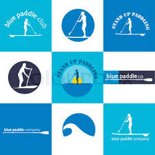 set of different logotype templates for stand up paddling vector