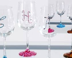 wine glass with initials painted personalized wine glasses with swarovski crystals