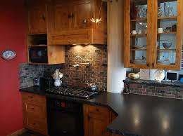 Kitchen Backsplash Cherry Cabinets by Brilliant Kitchen Backsplash Hickory Cabinets N In Design With