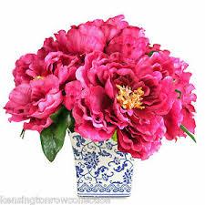 silk peonies flower arrangements magenta silk peony bouquet in blue white
