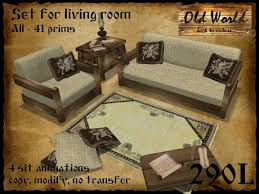 Old World Living Room Furniture by Second Life Marketplace Set For Living Room In Yellow Old