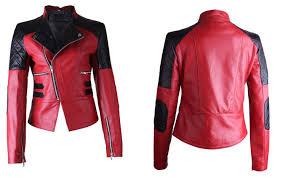 arrow women red with black patch work womens biker leather jacket