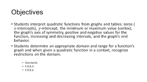 interpreting quadratic functions from graphs and tables ppt