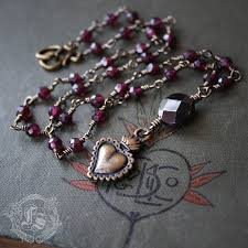 sacred heart rosary sacred heart rosary necklace in brass and garnet black