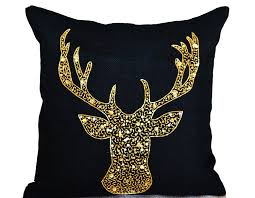 Thanksgiving Pillow Covers Deer Pillow Cover Animal Pillows With Stag Embroidered In Gold
