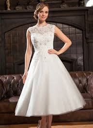 www wedding dress a line princess scoop neck tea length tulle lace wedding dress