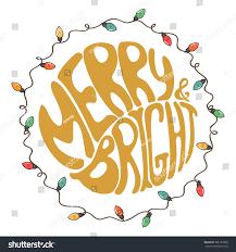 merry bright unique typography stock vector 526127098