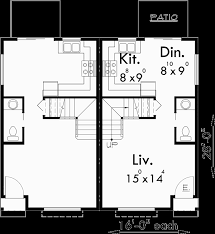 Duplex House Plans For Narrow Lots Craftsman Style Duplex With Boxed Windows Compact Floor Plan