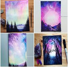purple and blue paintings with trees sky and galaxy art