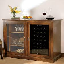 Furniture Wine Bar Cabinet Siena Mezzo Wine Credenza Walnut With Wine Refrigerator Wine