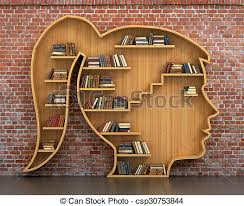 Background Bookshelf Drawing Of Wooden Bookshelf Full Of Books In Form Of Woman Head On
