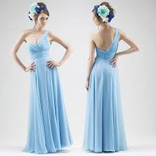cheap light blue bridesmaid dresses new 2016 simple one shoulder a line floor length chiffon light blue