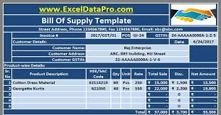 Bill Of Materials Excel Template Bill Of Supply In Gst Archives Exceldatapro