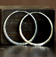 hammered hoops 2 inch hammered sterling silver hoop earrings large endless
