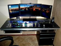 Computer Desks Gaming by Built In Computer Desk Diy Computer Gaming Desk Triple Monitor