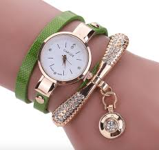leather rhinestone bracelet images Stylish leather rhinestone analog casual bracelet watch png