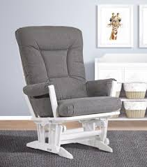 White Glider Rocker Shermag Aiden Glider And Ottoman Set White With Grey Fabric