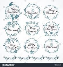 set christmas decorations hand drawing christmas stock vector