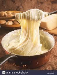 cuisine auvergne aligot mashed potato with cheese from auvergne stock photo