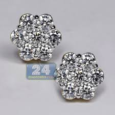 cluster stud earrings womens diamond cluster flower stud earrings 14k yellow gold 3 1 ct