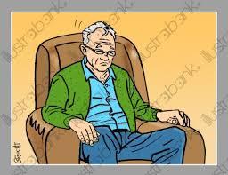 fauteuil de malade homme assis dans un fauteuil illustration malade libre de droit