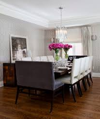 dark dining room dining room transitional with pink flowers dark