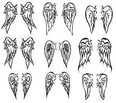 grey ink small wings tattoos designs for