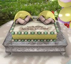 second life marketplace aphrodite welcome twins baby shower cake