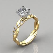 yellow gold engagement ring twist cushion cut engagement ring puregemsjewels
