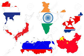 Asia Map Outline by The Asia Flag Is On The White Background Stock Photo Picture And