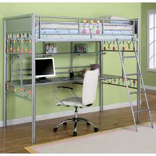 Loft Bed With Desk Underneath For More Freed Up Space In A Shared - Metal bunk bed ladder