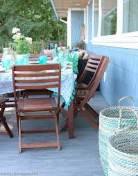 Aqua Dining Room by Beachy Boho Outdoor Dining Room Deck Reveal Part Two The