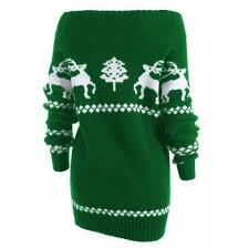 2017 the shoulder reindeer knit tunic sweater green s in