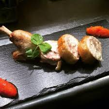 cuisine farce confit organic chicken leg roast garlic and coriander farce