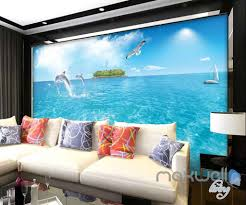 Wall Murals 3d 3d Dophins Jumping Sea Yacht Entire Room Wallpaper Wall Murals Art