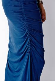 forever 21 ruched m slit maxi dress in blue lyst