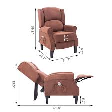 homcom heated vibrating suede massage living room recliner chair