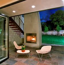 modern outdoor fireplace patio contemporary with recessed lights