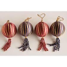 tone ribbon velvet wrapped ornaments set of 7