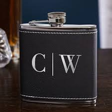 black silver personalized hip flask