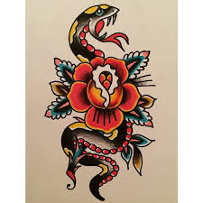 traditional snake with rose tattoo design