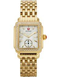 deco 16 two tone 18 lyst michele watches deco 18 of pearl 18k