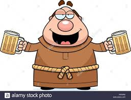 beer cartoon a cartoon illustration of a monk drinking beer stock vector art