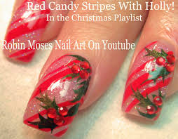 easy xmas nails holly and candy cane nail art design tutorial