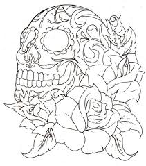 sugar skull with roses coloring pages kids coloring