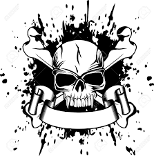 skull ribbon black gangster danger skull with ribbon tattoo stencil hjjhjvj