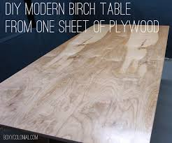 Diy Round Wood Table Top by Diy Modern Birch Table From One Sheet Of Plywood