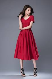 red dress scoop neck dress linen dress midi dress